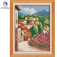 Joy Sunday,Town,cross stitch embroidery set,Landscape cross stitch pattern,cross stitch needlework,Scenery picture cross stitch цены