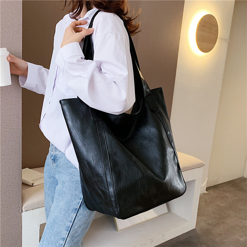 Burminsa Vintage Large Capacity Soft Shoulder Bag For Women Office Ladies Big Work A4 Handbags High Quality PU Leather Tote Bags