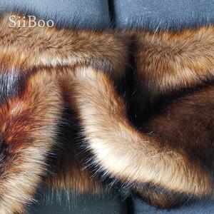 Image 4 - גבוהה כיתה חום 5cm בפלאש פו שועל פרווה בד לחורף מעיל אפוד פרווה צווארון 180*50cm 1pc ארוך שיער שועל פרווה tissu telas SP4581