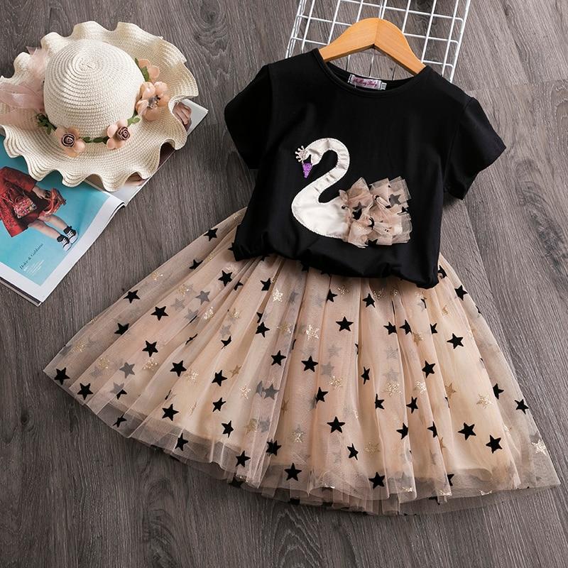 Girls Dress 2020 New Brand Summer Princess Girl Bling Star Flamingo Dress 2pcs Set Children Clothing Unicorn Dresses  2 7Y