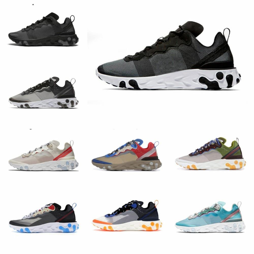 2020 New React Element 87 55 Running Shoes For Men Women Lightweight Triple Black White Blue Multicolmen Trainers Sport Sneak