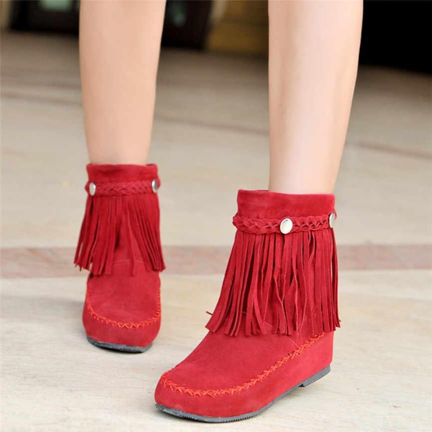 Frędzlami krótki but kobiet brytyjski styl krótkie podkolanówki matowe buty Tassel w stylu etnicznym botki solidne zimowe damskie botki A1