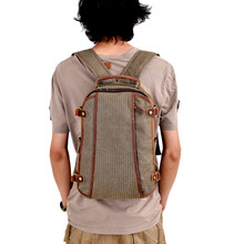 2020 New Men's Canvas Backpack School Backpack Casual Travel Male Student Backpack Crazy Horse Leather Backpack