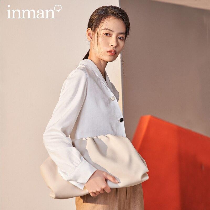 INMAN, весна 2020, Новое поступление, Повседневная шелковая Свободная блуза с длинными рукавами и пуговицы в один ряд