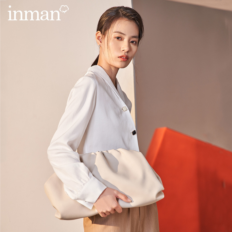 INMAN 2020 Spring New Arrival Literary Simple Commuter Lapel Single Row Button Silk Slip Loose Long Sleeve Blouse