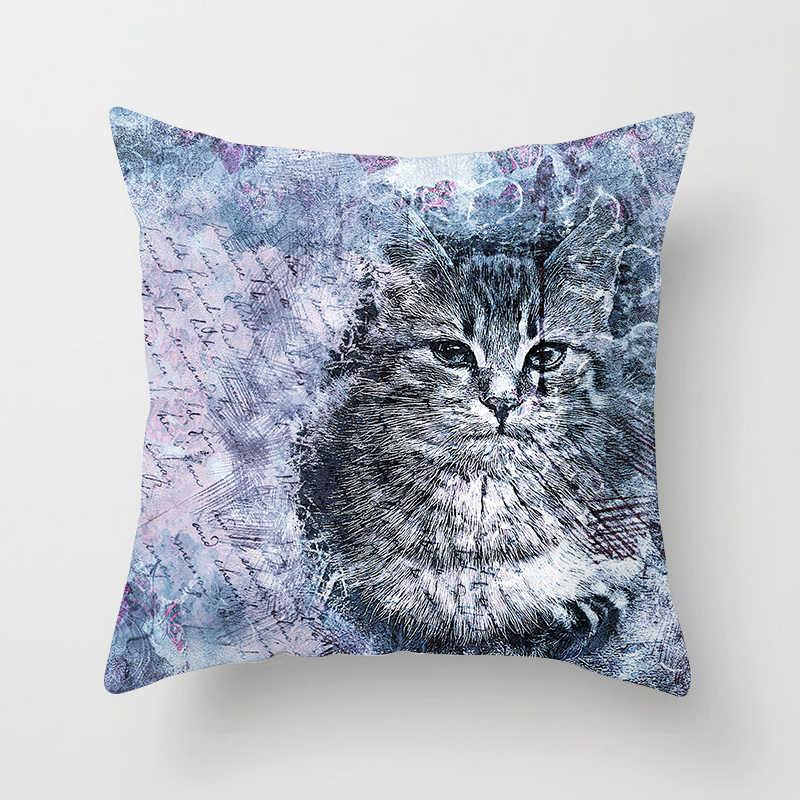Membuang Biru Sarung Bantal Dekorasi Rumah Lukisan Anjing Kucing Kartun Dekoratif Bantal Penutup 45 Cm X 45 Cm Hewan Dicetak Kursi mobil Sofa Hug