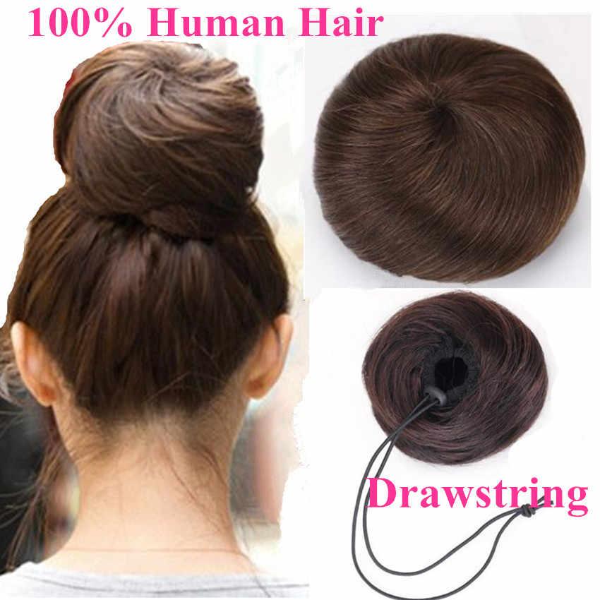 Cabelo humano brasileiro bun donut chignons parte do cabelo peruca não-remy extensões de cabelo do rabo de cavalo do cordão