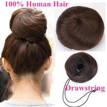 Hairpiece Ponytail Human-Hair Wig Bun Chignons Donuts Updo Drawstring Brazilian Non-Remy