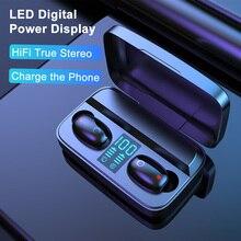 AWI W2S 무선 이어폰 1800mAh 블루투스 5.0 TWS 헤드셋 전원 은행 헤드폰으로 LED 디스플레이 Hifi 스테레오 스포츠 이어 버드