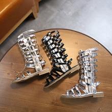 Girls Roman Sandals 2020 Summer New Children's Pu Hollow Rivet High Sandals Kids Non-slip Zip Flat Shoes Middle Big Child Shoe