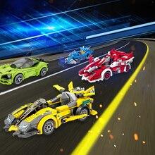 Hızlı şampiyonu Supercar uyumlu yarış tuğla araba spor Roadster yapı taşları eğitim DIY çocuk için oyuncak çocuk hediyeler