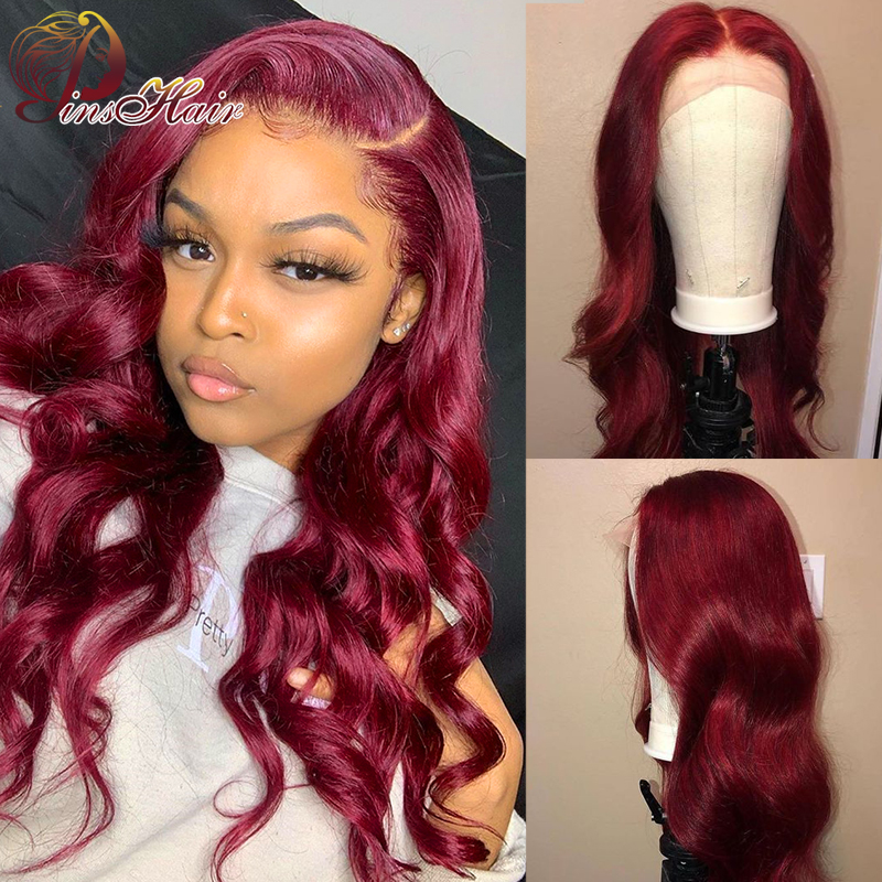 Pinshair 99J Red Burgundy Lace Front Human Hair Wigs Colored Body Wave Brazilian Human Hair Wigs Remy Lace Front Wig Pre-Plucked