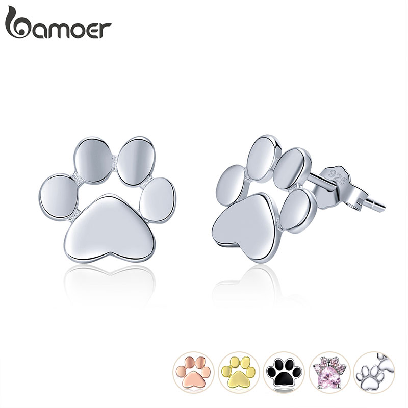 BAMOER 925 Sterling Silver Animal Dog Cat Paw Stud Earrings for Women Footprints Valentine's Day Gift SCE407(China)