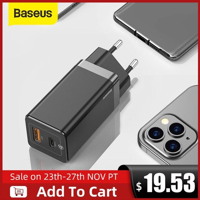 Baseus cargador GaN de carga rápida para móvil, Cargador rápido de 65W con doble cargador con puerto USB, 4,0, 3,0, tipo C, PD, para iPhone, para ordenador portátil y tableta xiaomi