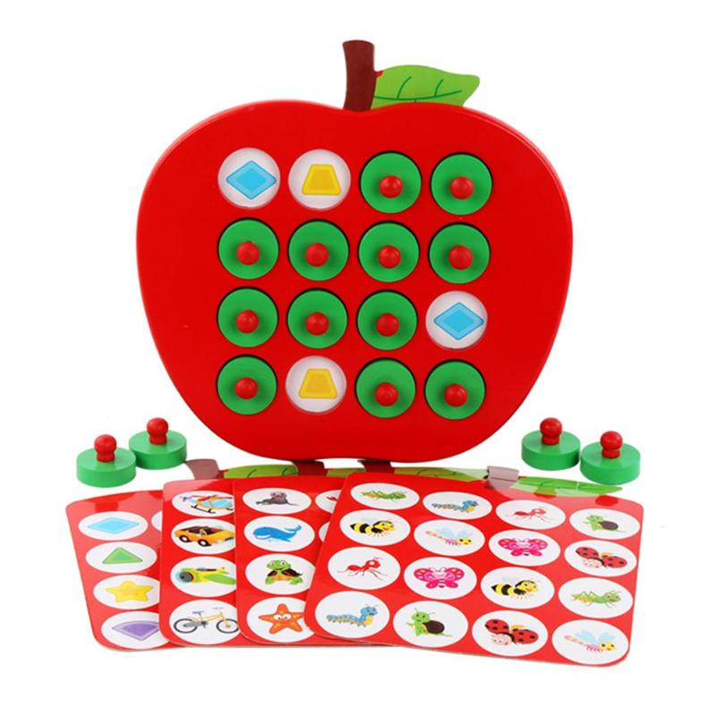 Kids Wooden Apple Memory Matching Chess Game Early Education 3D Puzzle Family Casual Games Puzzle Wooden Puzzles For Kids Gifts