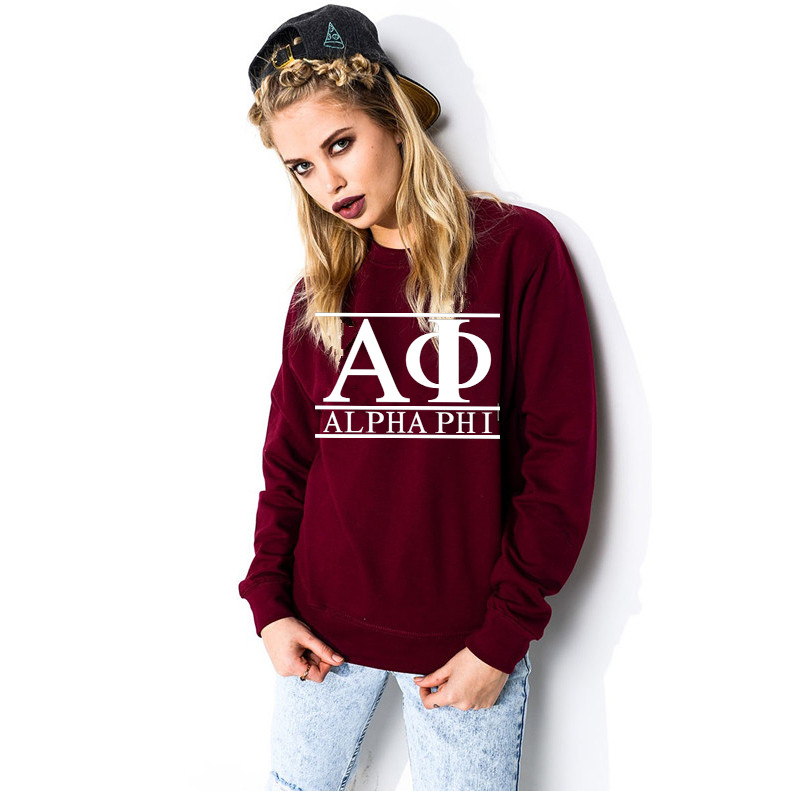 New Alpha Phi Sweatshirts 2019 Women Fashion Letter Printed Hoodies Winter Wine Red Casual Pullover O-Neck Woman Fleece Tops
