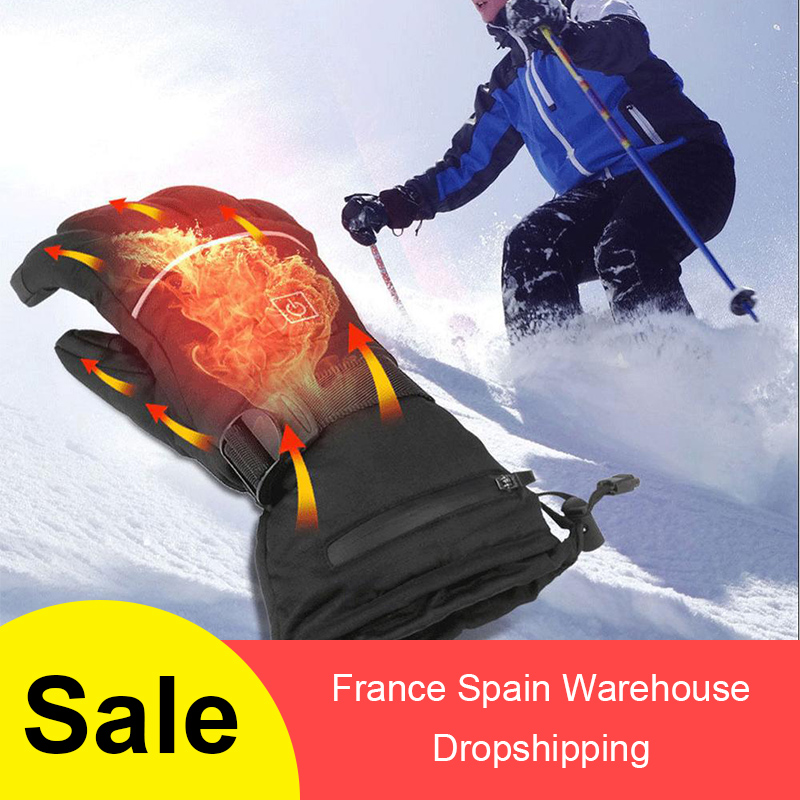 1 Pair Winter USB Hand Warmer Electric Thermal Gloves Waterproof Heated Gloves Battery Powered For Motorcycle Ski Gloves