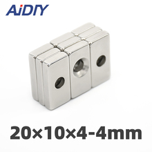 AIDIY 3/10/30 Pcs 20x10x4mm Hole 4mm N35 Strong Block Neodymium Magnet Ring Rare Earth Magnets20 * 10 4 5mm