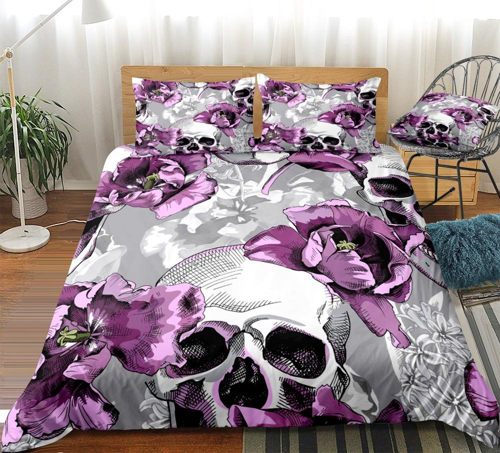 Floral Skulls Duvet Cover Set Violet Tulips Flowers And Skulls Bedding Grey Quilt Cover Queen 3pcs Purple Bed Set King Dropship