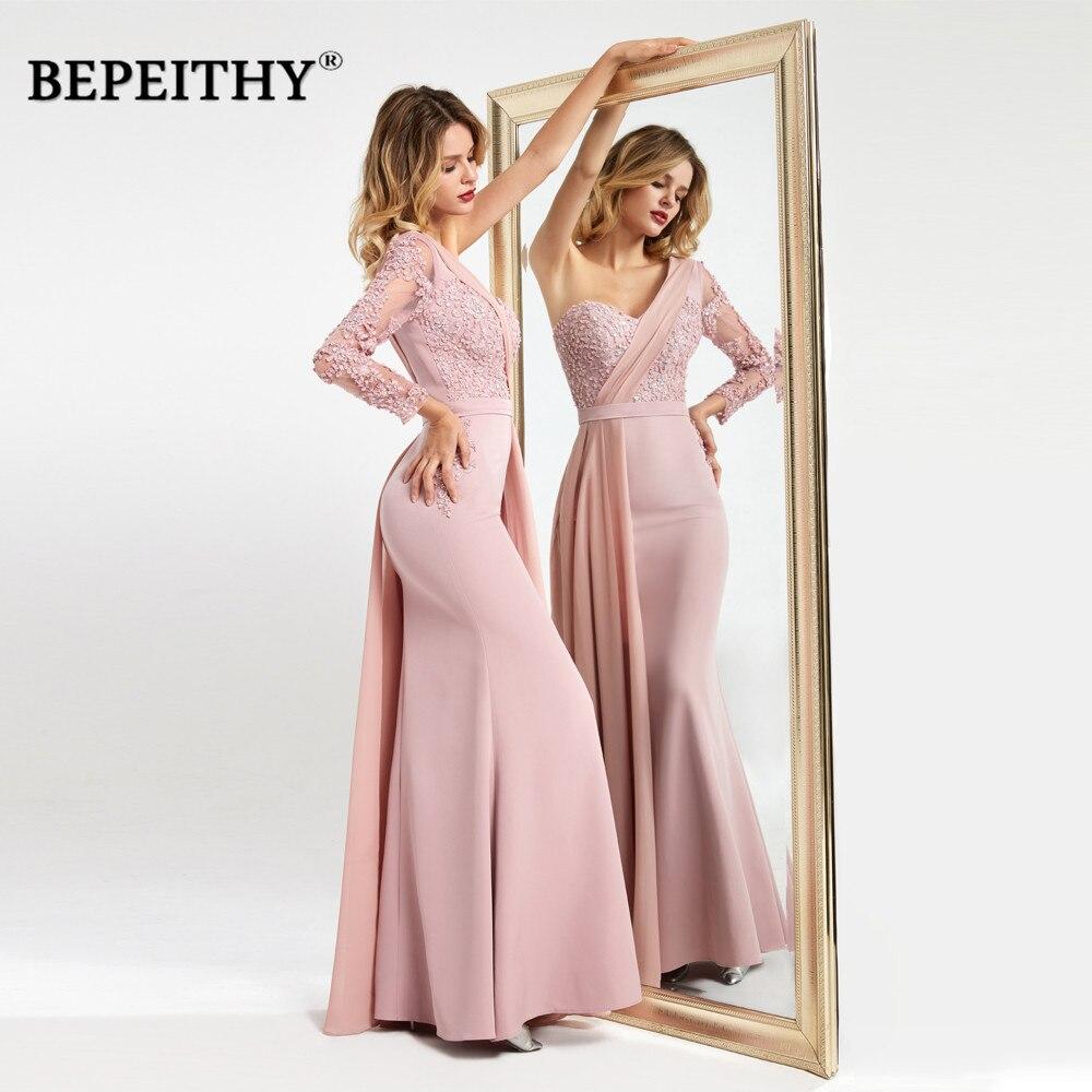 BEPEITHY One Shoulder Long Evening Dresses With Flow Robe Demoiselle D'honneur Elegant Pink Prom Vestido Madrinha Dress 2020