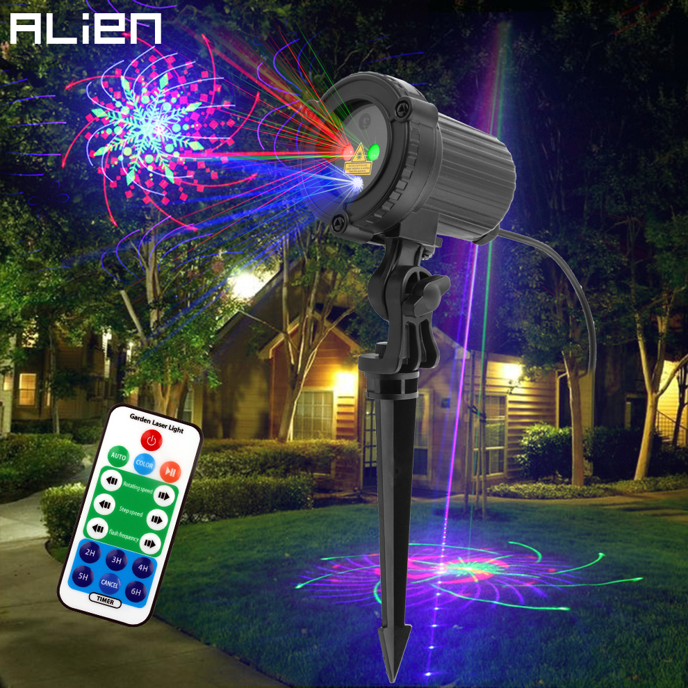 ALIEN RGB 32 Patterns Christmas Laser Projector Outdoor Light Remote Garden Waterproof IP65 Holiday Xmas Outside Shower Lighting-in Stage Lighting Effect from Lights & Lighting