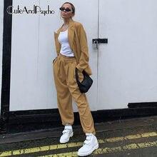 Cuteandpsycho-pantalones de talle alto de pierna ancha para mujer, ropa de calle de moda coreana Harajuku, pantalones de chándal holgados de algodón