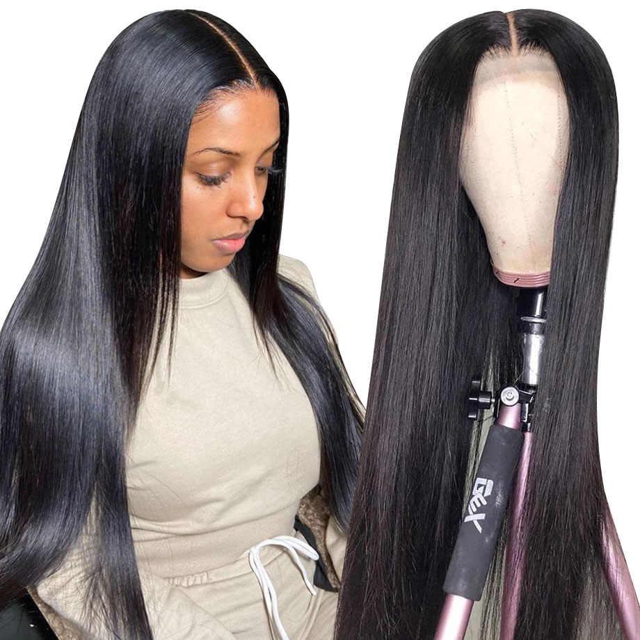 Koronki przodu włosów ludzkich peruk krótki prosto 30 cal brazylijski naturalne Frontal peruka pełna Glueless hd wstępnie oskubane peruka dla czarnych kobiet