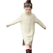 Big Girls Sweater Dresses for Winter Side Slit Knitted Dresses for Girls 15 Years old to 4 Years Child Turtleneck Sweater Hot цена 2017