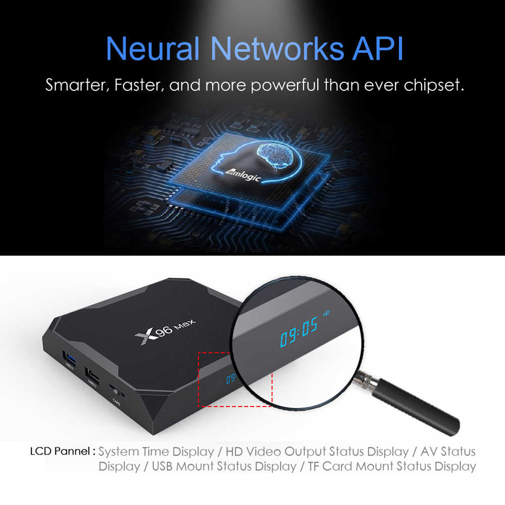 VONTAR X96 Max X3 Android 9,0 TV Box Amlogic S905X3 Quad Core 4GB 32GB 64GB 2,4G y 5GHz Wifi BT 4K X96Max receptor inteligente para TV