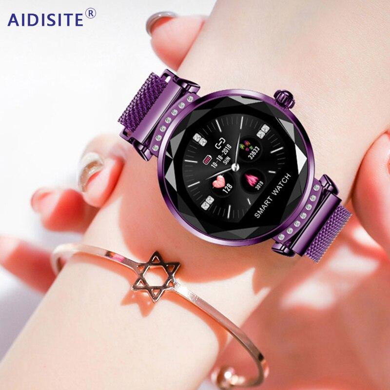 AIDISITE Vidro Inteligente Relógio de Diamante Moda Mulheres Assistir Cinta Heart Rate Monitor de Pressão Arterial Magnético Rastreador Para iOS Android