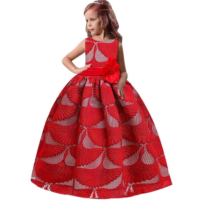 のドレス結婚式の宴会のドレスガールビーズ誕生日初聖体ドレス花びら長袖ボールガウン