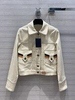 Vintage Jean Jacket Women High end 2020 Autumn Simple Three dimensional Contrast Color Long Sleeve Luxury Brand Denim Jacket New