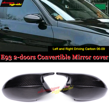 E92 2-Door Hard top Side Mirror Cover Cap Add on style Carbon Fiber For BMW 3 Series Sedan 1:1 Replacement M3 Look 2-PCS 2006-09