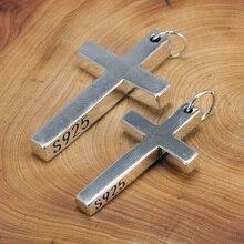 Naprawdę twarde 925 Sterling Silver krzyż wisiorek dla mężczyzn i kobiet gładkie wysokiej polerowania prosta konstrukcja jezus chrystus biżuteria