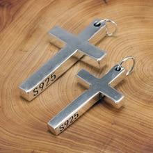 เงินแท้Silver 925 Sterling Silver Crossจี้สำหรับMenและWomenสูงขัดออกแบบพระเยซูเครื่องประดับ