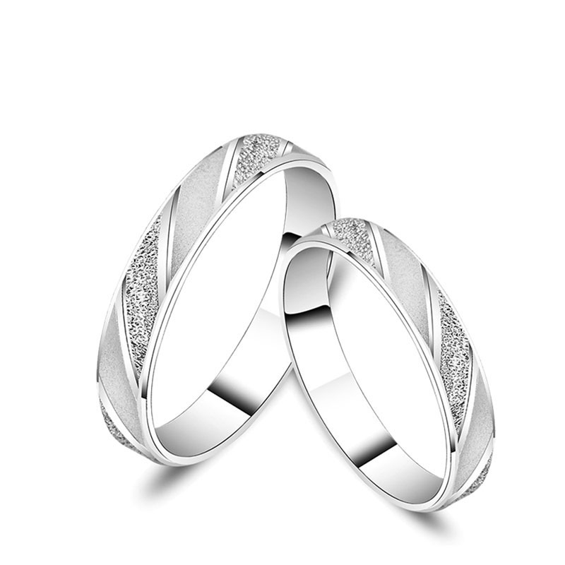 Classic Frosted 18K AU750 Real Solid Gold Wedding Rings for Lovers Couple Men Women Elegant Propose Marriage Bands Jewelry Gift