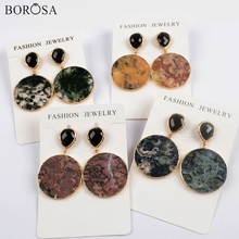 BOROSA 5Pairs Fashion Gold Plating 30mm Round Natural Jaspers Earrings Mixed Colors Gems Stone Drop Earring Jewelry WX1175