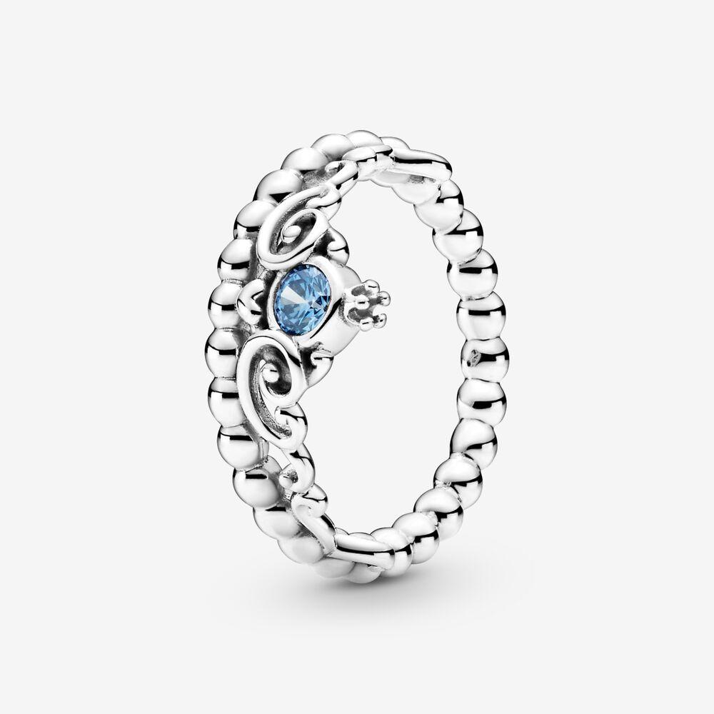 Женское ювелирное изделие из серебра 2020 пробы, голубое тиара Золушки в форме короны, повседневное Стильное кольцо с синим кристаллом, 925