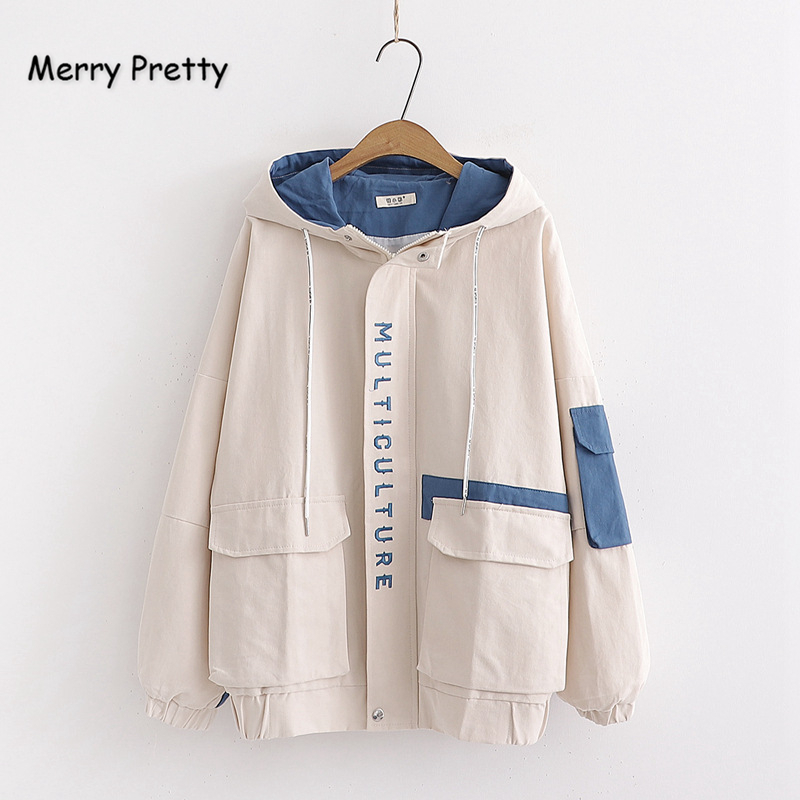 Merry Pretty Women Letter Embroidery Contrast Color   Basic     Jackets   2019 Winter Long Sleeve Pockets Hooded   Jacket   Casual Outerwear