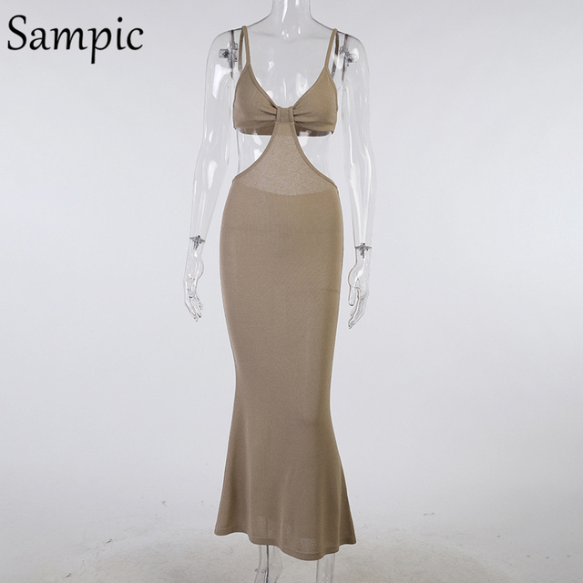 Sampic 2021 Women Strap Khaki Hollow Out Sexy Long Party Bodycon Dress Ladies V Neck Backless Night Club Cut Out Wrap Dress 5