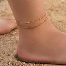 Hello Miss New fashion anklet simple double bead snake bone chain foot ring beach womens jewelry gift