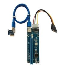10PCS/SET PCI-E PCI Express 1X to 16X Riser Card USB 3.0 Cable SATA to 4Pin IDE Power Cord Molex Power for BTC Miner Machine