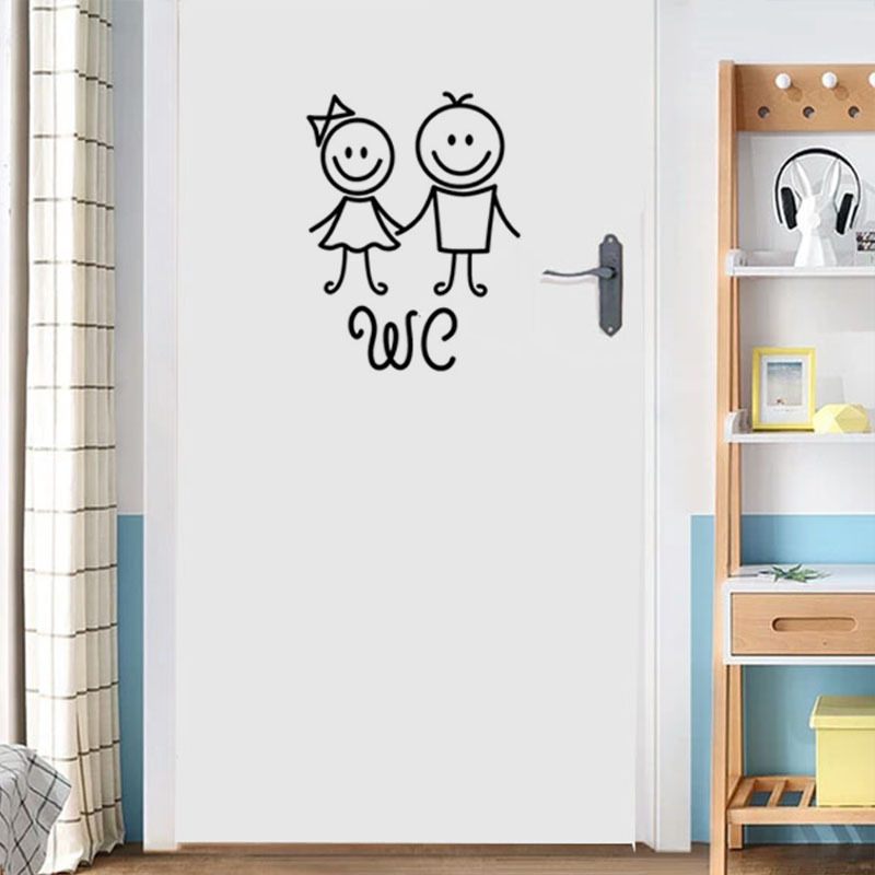 Cartoon WC Door Decoration For Bathroom Man And Women Toilet Wall Stickers Creative Wall Decals PVC Vinyl Wallposter Removable