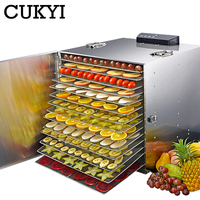 CUKYI 15 layers Stainless Steel Food Dehydrator 110V 220V Snacks Dehydration Dryer Fruit Vegetable Herb Meat Drying Machine EU