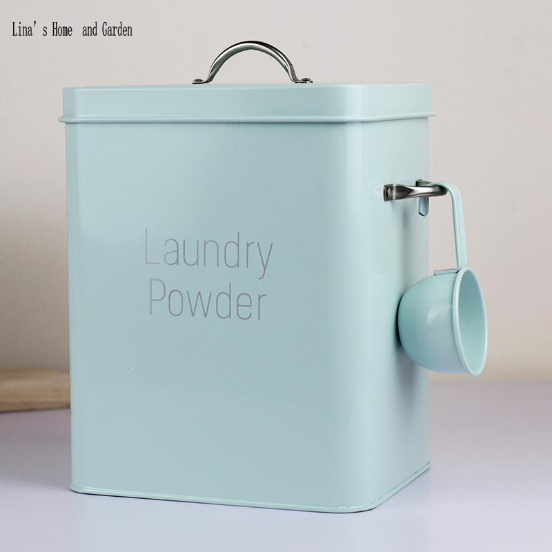 Beautiful Powder Coating Metal Zinc Laundry Powder Boxes Storage With Scoop