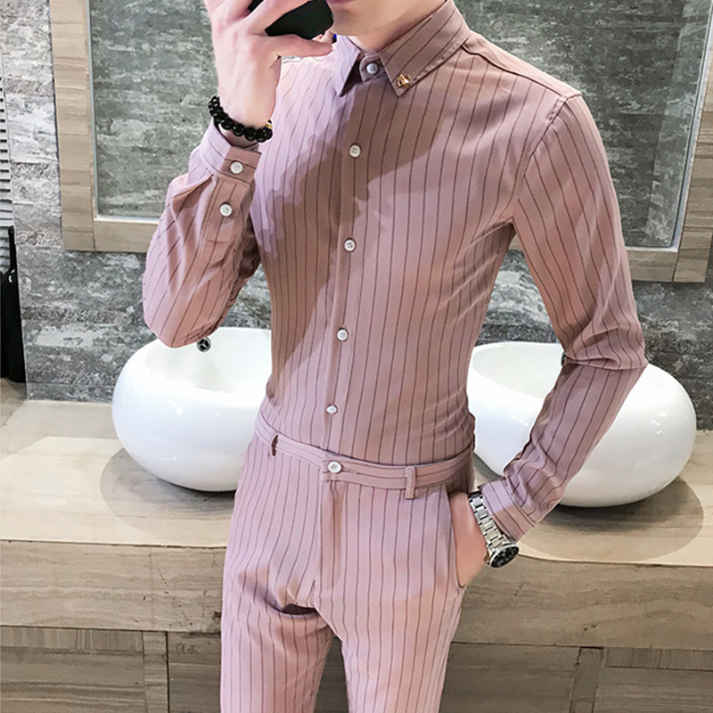 2020 Autumn New Style Casual Fashion Man Slim Fit Stripes Long Sleeve Capri Pants Shirt Hot Selling Set