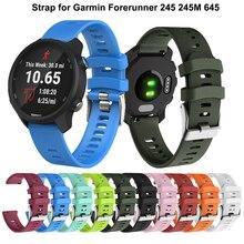 Bracelet de montre en Silicone souple 20mm pour Garmin Forerunner 245 245M 645 Vivoactive 3 Bracelet de montre intelligent Bracelet coloré