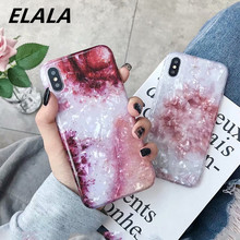 ELALA Glitter Marble Case For iphone X Cases Flower Pattern Glossy Conch Silicone Cover iPhone 6 S 7 8 Plus XR XS Max