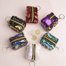 купить New Fashion Women Kids Sequins Coin Purse Wallet Girl Zipper Clutch Coin Earphone Package Handbag Purse Bags Pouch Hot Sale по цене 10.42 рублей