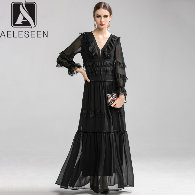 AELESEEN 2020 New Design Sexy European Party Dresses Women Luxury Lace Ruffles Spliced Mesh Petal Sleeve Beading Maxi Dress